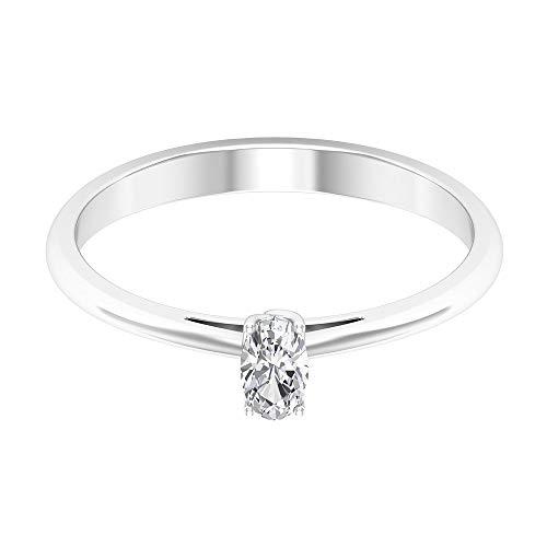 Anillo solitario de diamante de forma ovalada de 0,25 quilates, anillo de compromiso de diamantes certificado SGL, único para mujer, anillo de compromiso de boda clásico, anillo de promesa de oro