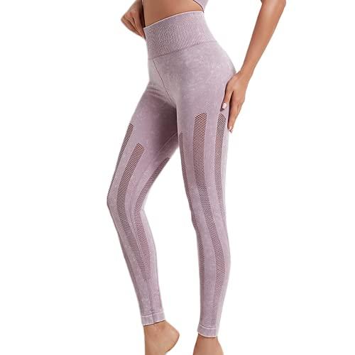 QTJY Pantalones de Yoga para Nalgas de Cintura Alta para Mujer, Pantalones Deportivos para Correr al Aire Libre, Mallas de Ejercicio Push-up de Abdomen elástico C S
