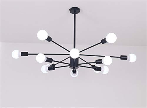 Nordic Retro Black Molecular Eisen-Leuchter,12 Einstellbare LED-Decken-Lampe,Lampenschirm E27 Pendelleuchte,Bar,Schlafzimmer,Esszimmer Dekoration,110-220V