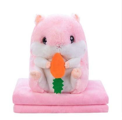 Stuffed Animals Stuffed Animal Plush Hamster Toys Dolls Pillow+Blanket Appease Doll for Baby Children Sleeping Doll Birthday Gifts Brown Grey-Pink