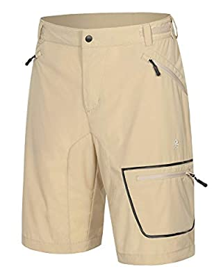 Little Donkey Andy Men's Lightweight Quick-Dry Hiking Shorts Stretch Breathable Sun Protection Outdoor Cargo Shorts Khaki M