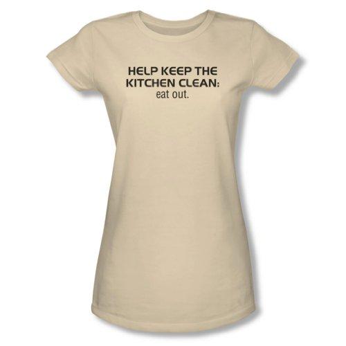 Saubere Küche - Sheer T-Shirt der jungen Frauen in der Creme, X-Large, Cream