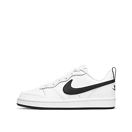 Nike Boys Court Borough Low 2 (GS) Basketball Shoe, WHITE/BLACK, WHITE/BLACK, 39