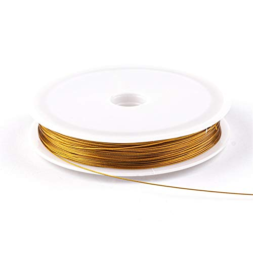 Cable de Abalorios Color de Oro Alambre de Acero Inoxidable Cuerda de Cuerda Cuerda de Pesca Cadena de Hilo de Pesca para Bricolaje Collar Pulseras Joyería Hallazgo Hallazgo