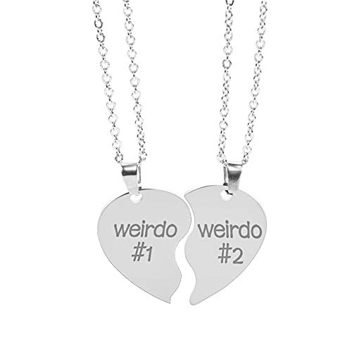 nobrand 2 Pcs Best Friend Necklaces Weirdo 1 Weirdo 2 Stainless Steel Pendant Friendship Jewellery Forever Split Heart Pendant Set