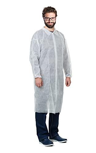 AMAZING Disposable Lab Coats. Pack of 10 White Polypropylene 40 gsm Labcoats 3X-Large, 42'. Hook and Loop Fasteners, Collar, Elastic Wrists, No Pockets. Unisex PPE Visitor Clothing for Industrial Use.