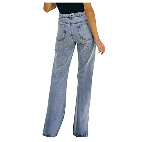 WOOHUI Jeans Donna Elasticizzati Estivi Strappati Jeans Strappati Ragazza Donne Sexy Vita Alta Pantaloni Denim Larghi Elastico Jeans Pantaloni per Allenamento Jogging Fitness Palestra