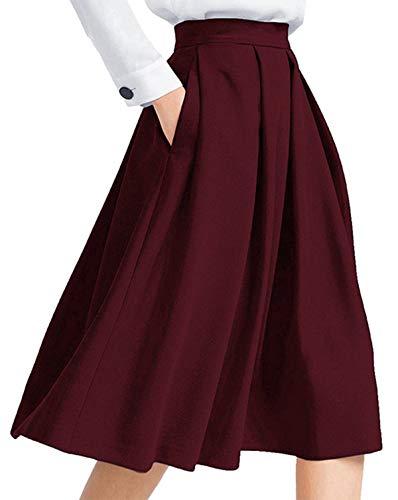 Auxo Falda Cintura Alta Mujer Vintage Plisado línea