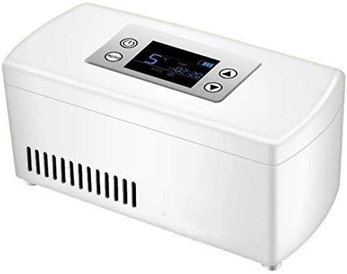 La insulina refrigerador portable Caja refrigerada, LCD Display Case refrigerador de la insulina, Medicina recargable mini refrigerador del refrigerador for el hogar coche!-Blanco, negro, 9x10x21cm (4