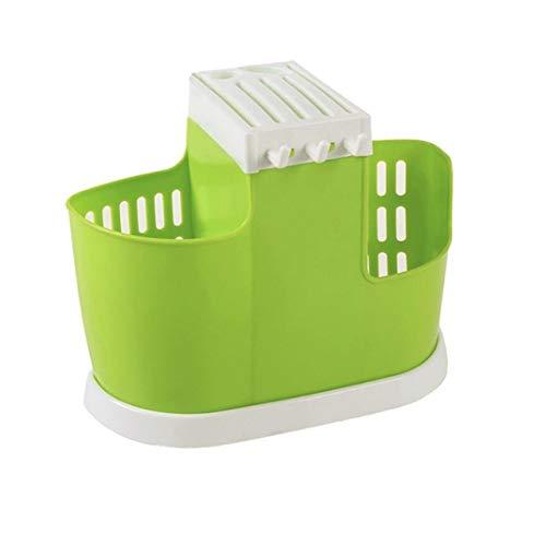 Cocina Drenaje de Agua Palillos Jaula Cuchara Estante de Almacenamiento Organizador de Cubiertos Escurridor Caja de Almacenamiento Multifuncional Soporte de plástico (Verde) Jasnyfall
