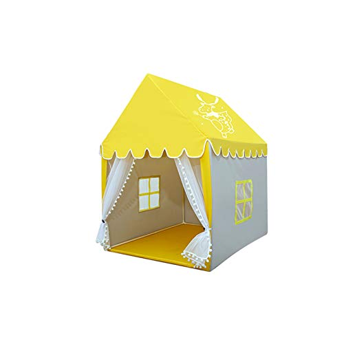 Tents Pink Toys Hut, Yellow Playhouse for Bedroom - Cute Castle Play House Children's Best Birthday Gift - Ultralight (Color : Yellow, Size : 100 * 120 * 140CM)