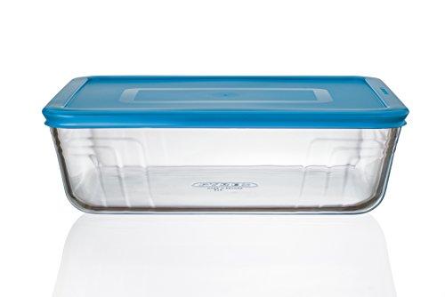 Pyrex Cook n Fresh - Rectangular Storage Dish with Mid Blue Plastic Lid - 2.6L (Dimensions: L25 x W20 x H 8cm)