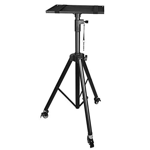Soporte Altavoces Con ruedas de bloqueo,Metal negro resistente Trípode del ordenador portátil del proyector,0,9-2 m de altura ajustable,Soporte portátil para equipo de DJ para interiores y exteriores