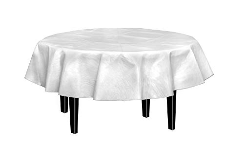 Exquisite Flannel Backed Vinyl Tablecloths, Solid Color Premium Quality Waterproof Table Cover (70 Inch. Round, White)