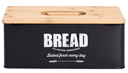Xbopetda Metal Bread Box Loaves Storage Canister Tins, Bread Storage Bin for Kitchen, Countertop Space-Saving, Bread Container with Wooden Lid - Black