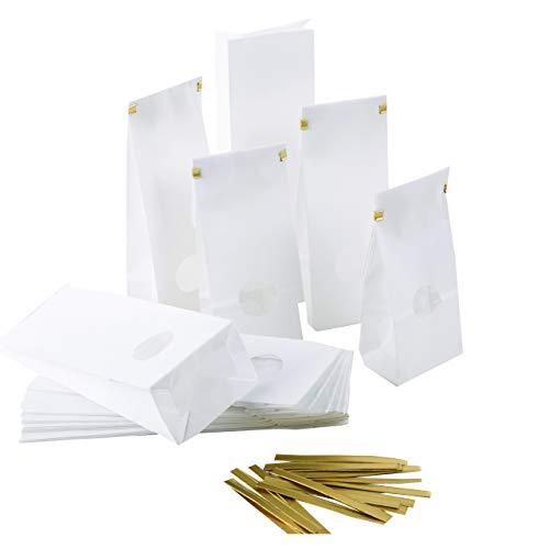 Logbuch-Verlag 25 kleine weiße Blockbodenbeutel mit Sichtfenster + Verschluss Papiertüte mit Boden 7 x 4 x 20,5 cm Geschenkverpackung Lebensmittel Tee Gewürze