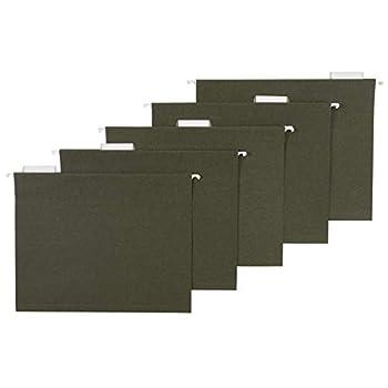 Amazon Basics Hanging File Folders Letter Size Standard Green 1/5-Cut Tabs 75 per box