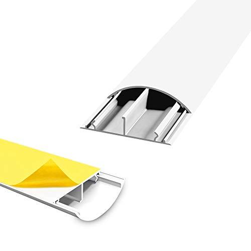 Fussboden TV Kabelkanal Kabelbrücke selbstklebend 2 x 1 m weiss 50 x 12 mm Wand Boden Fußboden halbrund rund ARLI 2 Stück