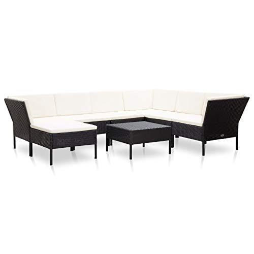 vidaXL Set Muebles de Jardín 8 Piezas y Cojines Patio Terraza Conjunto Casa Exterior Comedor Aire Libre Mesa Silla Asientos Ratán Sintético Negro