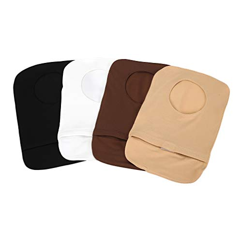 4Pcs Stretchy Colostomy Bag Covers with Round Opening, Lightweight Ostomy Pouch of Light Colour Set