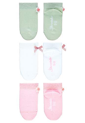 Sterntaler Mädchen Sneaker-Söckchen, Blumen-Motiv, 3er-Pack, Alter: 12-24 Monate, Größe: 19/22, Hellgrün/Weiß/Rosa