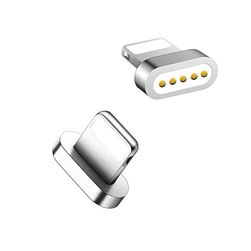 LAMA Magnet Blitz Adapter [2 Stück] Magnetischer Blitz Stecker Magnetstecker Ersatzstecker für Phone 8 8 Plus 7 7 Plus 6 6 Plus 6s 6s Plus 5 5c 5s Pad Pro Air Air 2 mini2 mini3 Pod (ohne Kabel) Silber