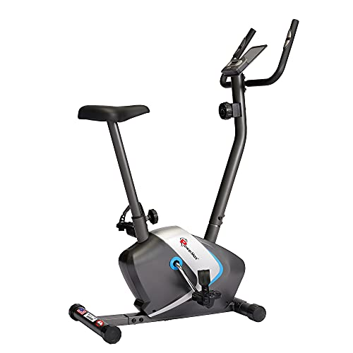 PowerMax Fitness BU-350 Magnetic Exercise Upright Bike With 2KG Outer Magnetic Flywheel, LCD Display & Heart Rate Sensor For Home Workout, black (BU-350-XKR62300)