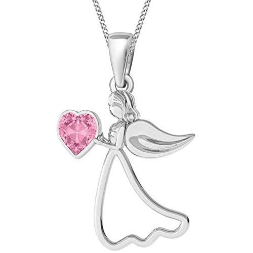 Rosa Herz Schutzengel verziert mit Kristallen von Swarovski® Anhänger mit Kette 925 Echt Silber Engel Flügel Halskette (Silber/CZ Rosa, 50)