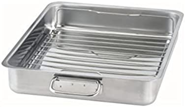 IKEA 9789178905638 KONCIS Roasting pan with grill rack, stainless steel (1, 16x13), Gray