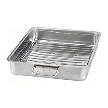IKEA 9789178905638 KONCIS Roasting pan with grill rack stainless steel  1 16x13  Gray