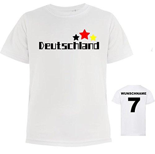 Kinder-shirt | kinder-Tricot met naam | bedrukken & personaliseren | incl. gewenste naam en nummer | voetbal T-shirt ademend sneldrogend | motief sterren fan Duitsland jongens en meisjes | diverse Maten.