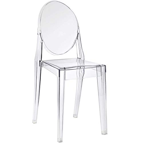 Modway casper modern acrylic stacking kitchen and dining room chair in...