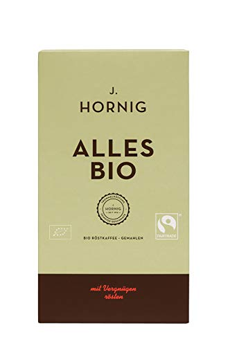 J. Hornig Kaffee gemahlen Bio & Fair Trade, Alles Bio, 500g, langsam und schonend geröstet, Filterkaffee