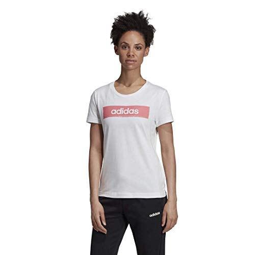 adidas Camiseta de Manga Corta para Mujer con diseño gráfico Lineal, Mujer, Manga Corta, F19AXCW200, Blanco/Bliss Pink, M