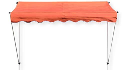 GRASEKAMP Qualität seit 1972 Klemmmarkise Ontario 255x130cm Orange Balkonmarkise höhenverstellbar von 200 cm – 320 cm