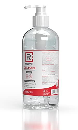 RMOVE 2 flaconi da 500ml di gel igienizzante mani 70% ALCOL Gel mani profumato al limone arricchito con olii essenziali di Aloe e Timo