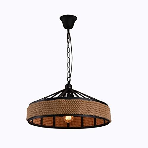 Lámparas, candelabros retro Industrial viento de hierro forjado de una sola cabeza de la lámpara de las luces de cáñamo colgante Lámpara de techo kshu