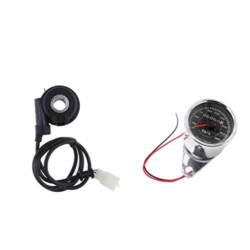 Shiwaki 12 V Motorcycle Dual LED Odómetro Velocímetro KPH Con Cable De Sensor 3 Cables
