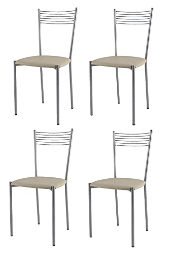 Tommychairs - Set 4 sedie modello Elegance per cucina bar e sala da pranzo, struttura in acciaio verniciata color alluminio e seduta in finta pelle colore lino