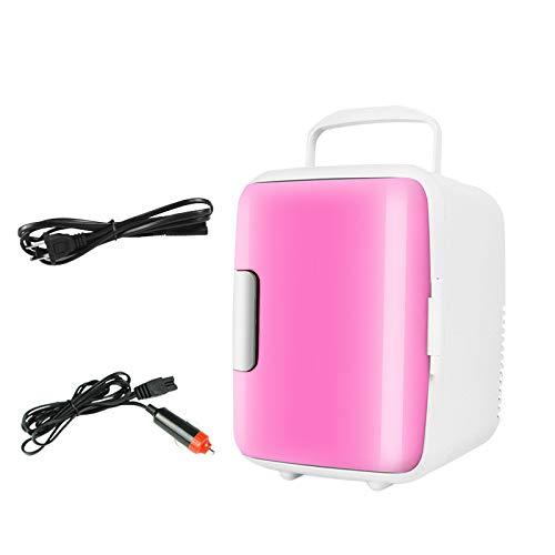 Mini refrigerador de coche de 4 L, respetuoso con el medio ambiente, portátil, mini refrigerador y calentador para coches, casas, oficinas y dormitorios (rosa)