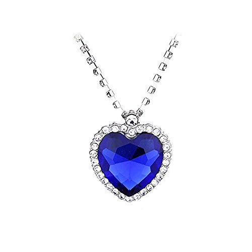 QEPOL Titanic Herz des Ozeans Halskette Schmuck Silber Liebes Herz des Ozeans Anhänger Halsketten Hergestellt aus Blauen Saphirkristallen Ewige Liebe - Valentinstag Geschenke (Blau)