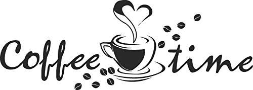 Skins4u Wandtattoo Coffee Time Kaffee Bohnen Auszeit Küche Sticker Wandsticker 80x28cm schwarz