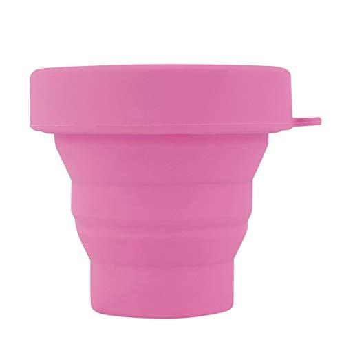 camellia® Tragbare Silikon versenkbare Faltbare Wasser Tasse Outdoor Travel Teleskop Faltbare weiche leichte Trinkbecher (pink)