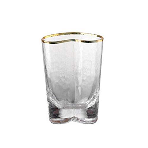 Marginf - Cuenco de cristal con forma de corazón con borde dorado y cristal transparente, para desayuno, frutas, ensalada, vajilla para el hogar, cuenco pequeño con forma de corazón