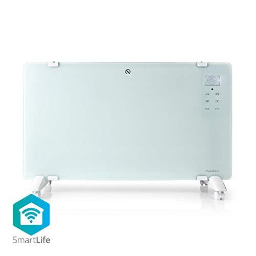 Nedis - Slimme Convectorkachel met Wi-Fi - Thermostaat - Glazen Frontpaneel - 2000 W - Handmatig of via app bedienen - Stembediening - Overhittingsbeveiliging - LCD-Scherm