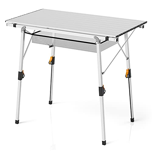 Weanas Folding Portable Picnic Camping Table with Aluminum Legs Adjustable Height Roll Up Table Top Mesh Layer, 35.5'' L x 20.9''W Table