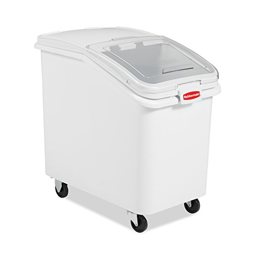 Rubbermaid Commercial ProSave Shelf-Storage Ingredient Bin With Scoop, Plastic, Stackable, 600-cup capacity, White, (FG360388WHT)