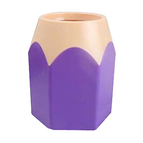 Bluelans New Creative Pencil Tip Design Pen Holder Pencil Cup Desk Tidy Green Purple