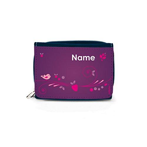 Striefchen® Jeans Geldbörse in Violett mit Namen für Mädchen mit Geschenkverpackung