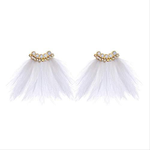 Pendientes creativos lindos con plumas para mujer pendientes con forma de abanico...